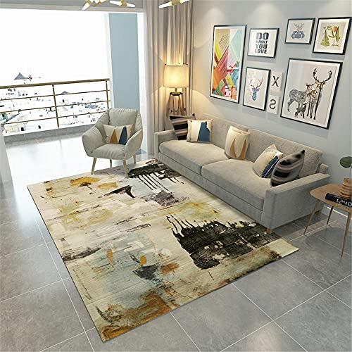 Xiaosua room Yellow Living room carpet yellow irregular vintage old pattern non-slip carpet anti-mites room decor 160X230CM room decorations 5ft 3''X7ft 6.6''