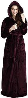 Hellomamma Luxurious Long Hooded Robe Women Men Fleece Full Length Bathrobe Hood Winter Warm Housecoat Sleepwear