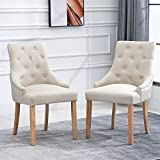 <span class='highlight'><span class='highlight'>BOJU</span></span> Accent Soft Dining Chairs Set of 2 Kitchen Chairs with Armrests Beige Fabric Upholstered Chairs with Arms Occasional Chairs Restaurant Living Room Side Chairs for Bedroom