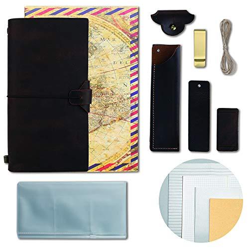 GRT Reisetagebuch aus Leder nachfüllbar 11 x 21 cm handgefertigt mit 4 Einsätzen kreatives Zubehör über 12Stück perfektes Schreibgeschenk für Männer Frauen TN Standardgröße