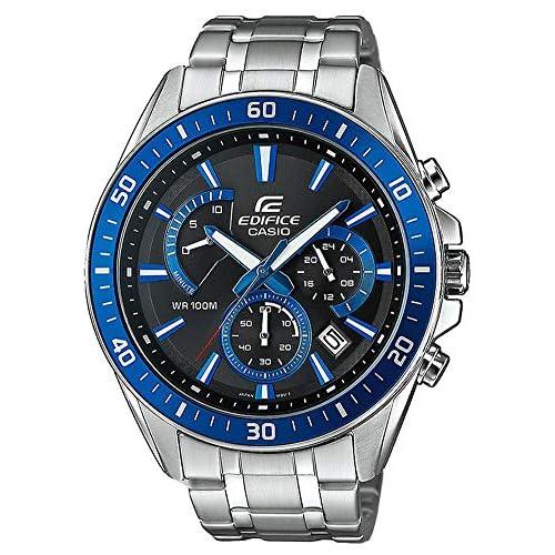 Casio EDIFICE Orologio, Robusta Cassa, 10 BAR, Azzurro/Nero, Uomo con Cinturino in Acciaio Inox EFR-552D-1A2VUEF