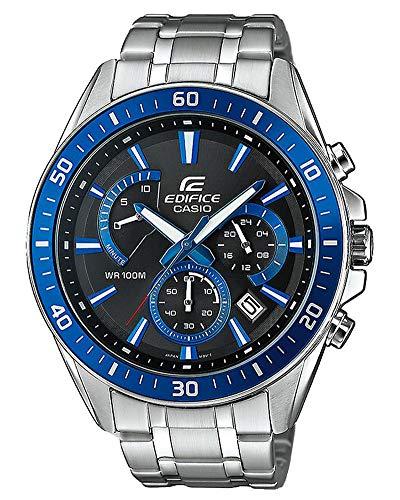 Casio EDIFICE Reloj en caja sólida, 10 BAR, Azul/Negro, para Hombre, con Correa de Acero inoxidable, EFR-552D-1A2VUEF