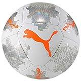 PUMA Spin Ball Ballon De Foot Unisex-Adult, White-Shocking Orange-Vaporous Gray, 5
