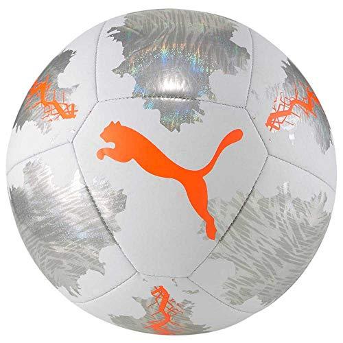 PUMA Unisex-Adult Spin Ball Fußball, White-Shocking Orange-Vaporous Gray, 5