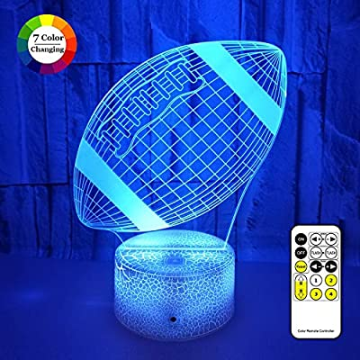 3D LED Illusion Lamp, Football Night Lights for Kids 7 Colors Changing Nightlight with USB Powered, Touch & Remote Control Best Birthday for Boys Girls Kids Baby