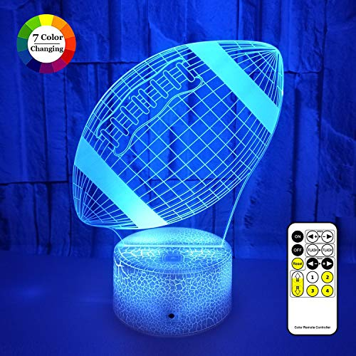 3D LED Illusion Lamp Football Night Lights for Kids 7 Colors Changing Nightlight with USB Powered Touch amp Remote Control Best Birthday for Boys Girls Kids Baby