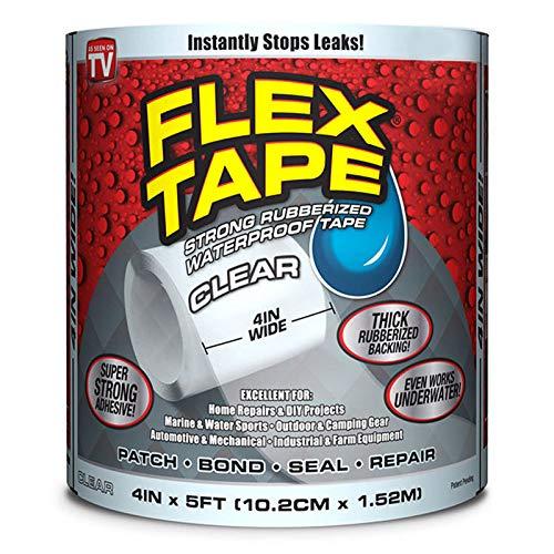 Shop-STory Flex Tape Klebeband, wasser- und wasserfest, sehr strapazierfähig, Farbe: transparent
