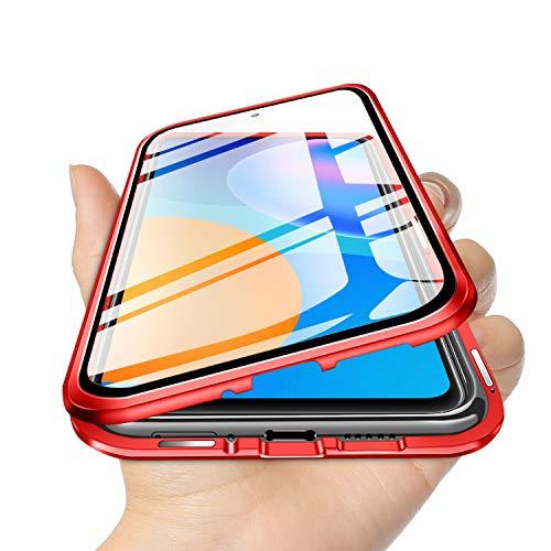 TVVT Funda Magnetica Compatible con Huawei P Smart 2021 Carcasa, Adsorción Magnética Funda Ultra-Delgado Transparente Vidrio Templado 360 Grados con 2en1 Mezclar Rígido Marco de Metal - Rojo