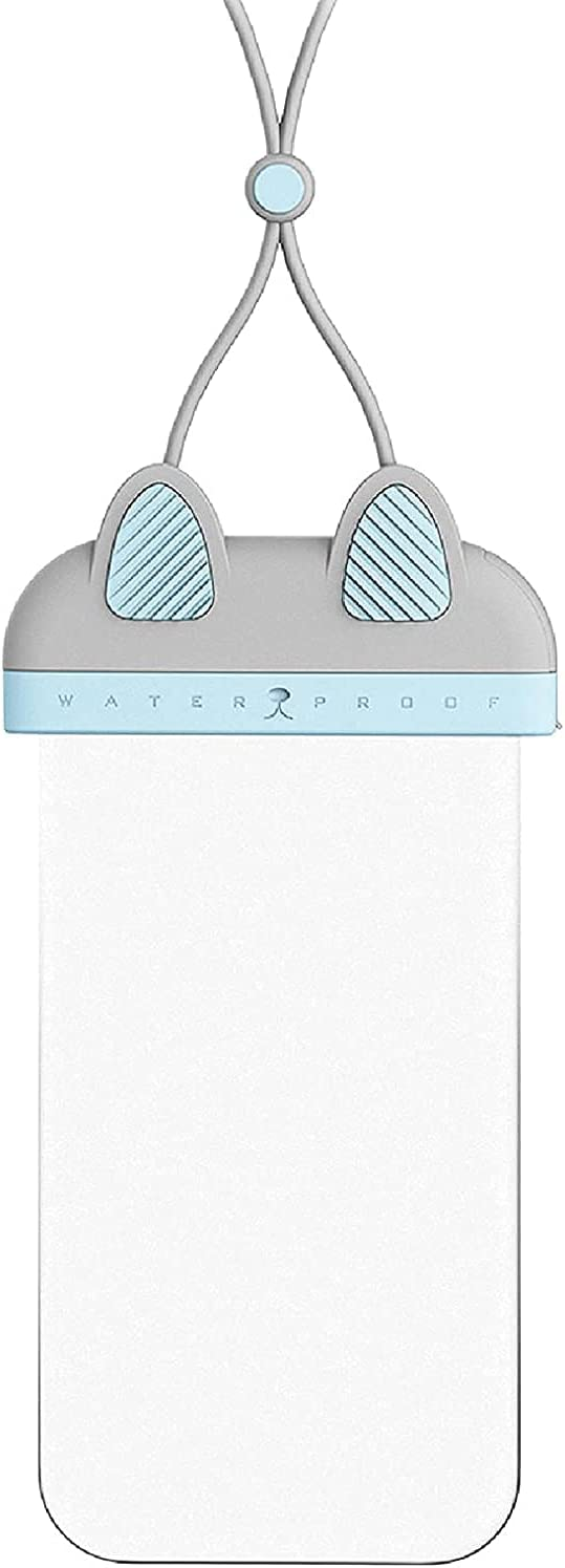 Cute Waterproof Phone Pouch - Clear Waterproof Bag,Waterproof Case,Foldable Anti-Sinking IP68 Floating Air Cell Phone Dry Bags with Hanging Strap for Swimming (Blue Grey)