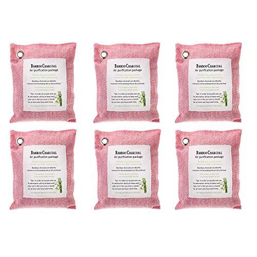 JEJA Bolsas Desodorantes Purificadoras De Aire De Carbón De Bambú, Ambientador De Carbón Activado, para Refrigeradores, Congeladores, Autos, Armarios, Zapatos, Cocinas, Sótanos, (Pink,200G X 6)