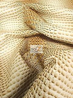 DuroLast Florida Gator 3D Embossed Vinyl Fabric by The Yard 2 Tone 3D Crocodile DIY Upholstery Accessories Apparel (Western Cream (New Lot))