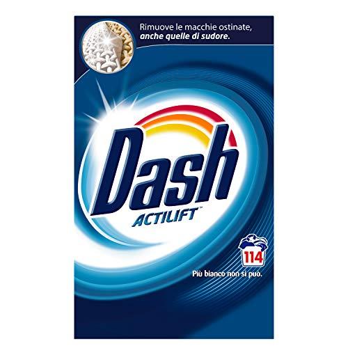 Dash Detersivo Polvere Lavatrice, 114 Lavaggi, Classico, Maxi Formato, Rimuove le Macchie, Brillantezza Per Tutti i Capi