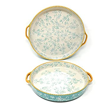 Temp-tations Set of 2 Pizza Deep Dish w/ Handles Tart Pan or Shallow Pie / Quiche 11  & 9  (Floral Lace Teal)