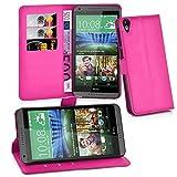 Cadorabo Hülle für HTC Desire 820 in Cherry PINK - Handyhülle mit Magnetverschluss, Standfunktion & Kartenfach - Hülle Cover Schutzhülle Etui Tasche Book Klapp Style