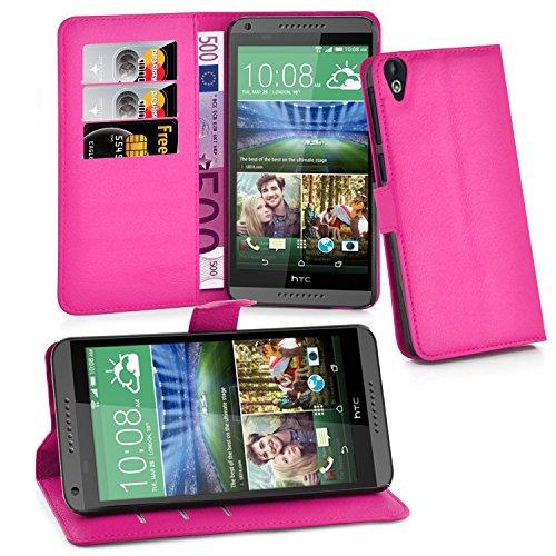 Cadorabo Hülle für HTC Desire 820 - Hülle in Cherry PINK – Handyhülle mit Kartenfach & Standfunktion - Hülle Cover Schutzhülle Etui Tasche Book Klapp Style