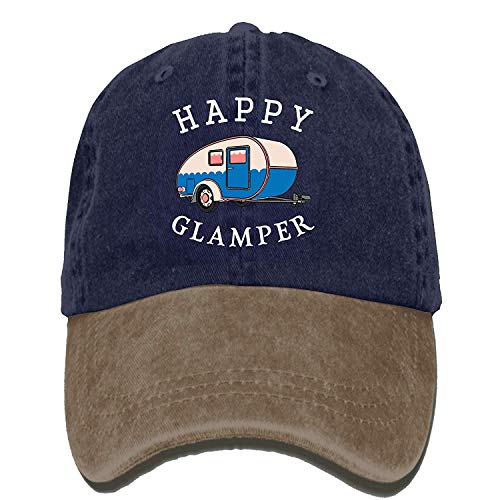 Happy Camp Happy Glamper Vintage Washed Dyed Cotton Twill Low Profile Adjustable Baseball Cap Black