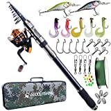 Telescopic Fishing Rod and Reel Combo, Carbon Fiber Telescopic Spinning Portable Fishing Pole Fishing Gear with Line Lure Reel Hooks Fishing Bag for Sea Saltwater Freshwater Boat Fishing