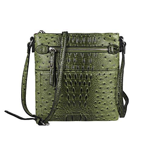 OBC Damen Tasche Kroko-Strauss Optik Schultertasche Umhängetasche Crossbody Bag Crossover Leder Optik Abendtasche (Grün.)