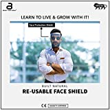 Reusable Safety Face Shield (1 Frame + 1 Reusable Shield), Anti-fog, Anti Splash, Flexible, One Size Fits All, Light Weight Frame, Universal face and Eye Protection for Men, Women & Kids. Quality Certified by EU Standard Directives , Made in INDIA