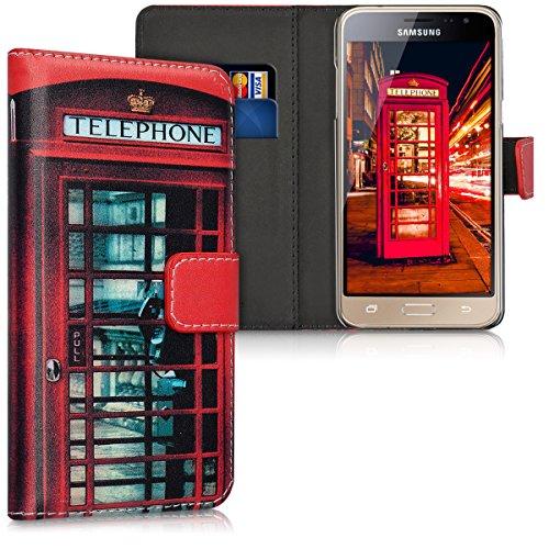 kwmobile Hülle kompatibel mit Samsung Galaxy J3 (2016) DUOS - Kunstleder Wallet Hülle mit Kartenfächern Stand London Handy Rot Schwarz Weiß