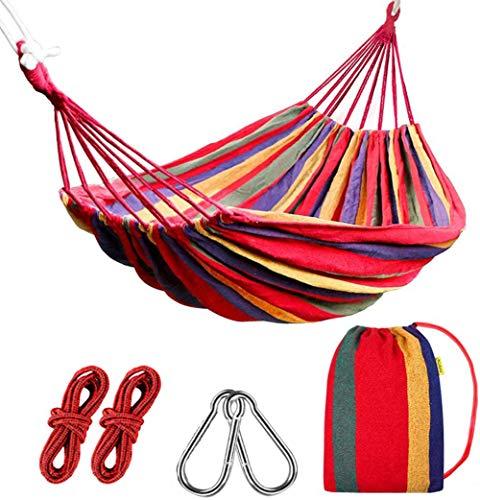 Hangmat outdoor katoen 190 x 150 cm, draagvermogen tot 200 kg | 2 x Premium karabijnhaken, Voor buiten, binnen, tuin