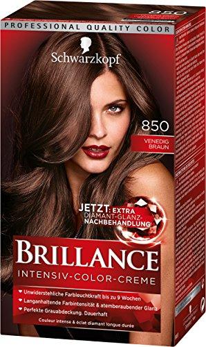 Schwarzkopf Brillance Intensiv-Color-Creme, 850 Venedig Braun Stufe 3, 3er Pack (3 x 143 ml)