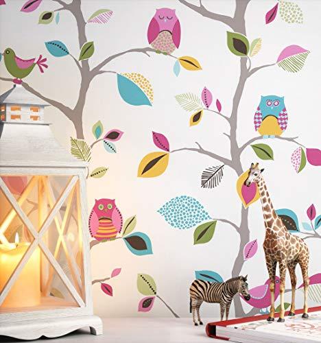 NEWROOM Kindertapete bunt Eule Baum Kinder Papiertapete gelb Papier Kindertapete Kinderzimmer Babytapete Babyzimmer