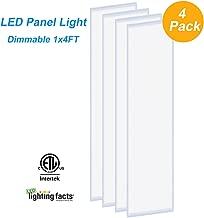 LED Troffer Panel Light 1x4FT, Allsmartlife 4-Pack 1x4FT LED Flat Panel Light Dimmable 0-10V 4000K 40W 4800Lumens ETL Listed, DLC Qualified and Lighting Facts