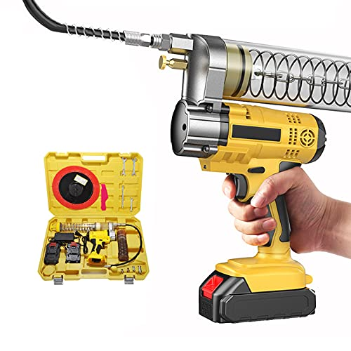 RYUNQ Electric Grease Gun Tool 21V with 2x2.0Ah lithium batteries Charger, Cordless Grease Gun 6000 PSI High-pressure Portable Grease Gun Kit for Agricultural Machinery, Ships, Trucks, Fast Charging