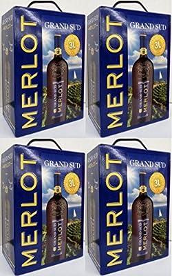 4 x GRAND SUD MERLOT Vin de Pays d`Oc 3 Liter BAG IN BOX