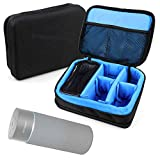 DURAGADGET Bolsa Acolchada Profesional Negra con Compartimentos e Interior en Azul clarito para Polaroid PWF1002, Divoom Airbeat-30, Dodocool DA150