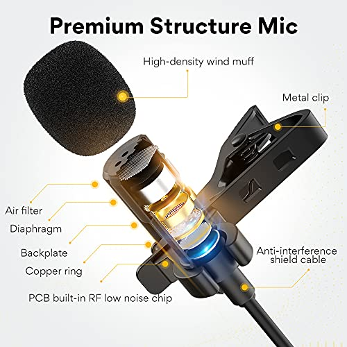 Maono AU-UL20 USB Collar Microphone, Lavalier Condenser Mic with Headphone Jack for PC, Mobile, YouTube Recording, Singing