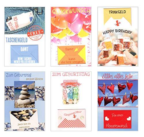 Edition Seidel Set 6 exklusive Premium Geldscheinkarten Geldkarten zum Geburtstag mit Umschlag. Glückwunschkarte Grusskarte Geburtstag Geburtstagskarte Karten Happy Birthday Geld Geschenk (Set 3)