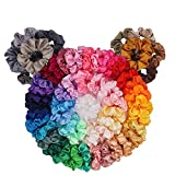 60 Pack Hair Scrunchies, BeeVines Satin Silk Scrunchies for Hair, Silky Hair Accessories for Girls, VSCO Girl Scrunchies Scrunchy Hair Tie Ropes for Teens, Scrunchies Pack with Ponytail Maker Gift Bag