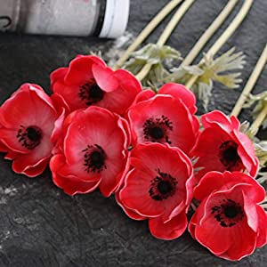 Artificial Flower for Decoration 1pc PU Anemone Real Touch Artificial Flower Wedding Bridal Rose Bouquet Photography Props For Garden Ornament Home Decoration for Party Home Decoration ( Color : Red )