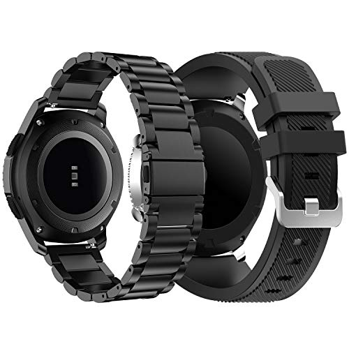 Syxinn Kompatibel mit Armband Galaxy Watch 46mm/Gear S3 Frontier/Classic Armband, 22mm Edelstahl Metall+Silikon Uhrenarmbänd Strap Sports Armband für Samsung Gear S3
