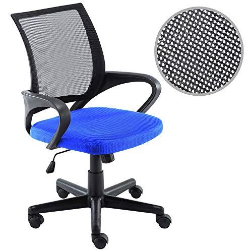 BAKAJI Poltrona Sedia Scrivania Ufficio Presidenziale in Tessuto Rete Traspirante Rotazione 360 Gradi Direzionale Altezza Regolabile (Blu Nero)