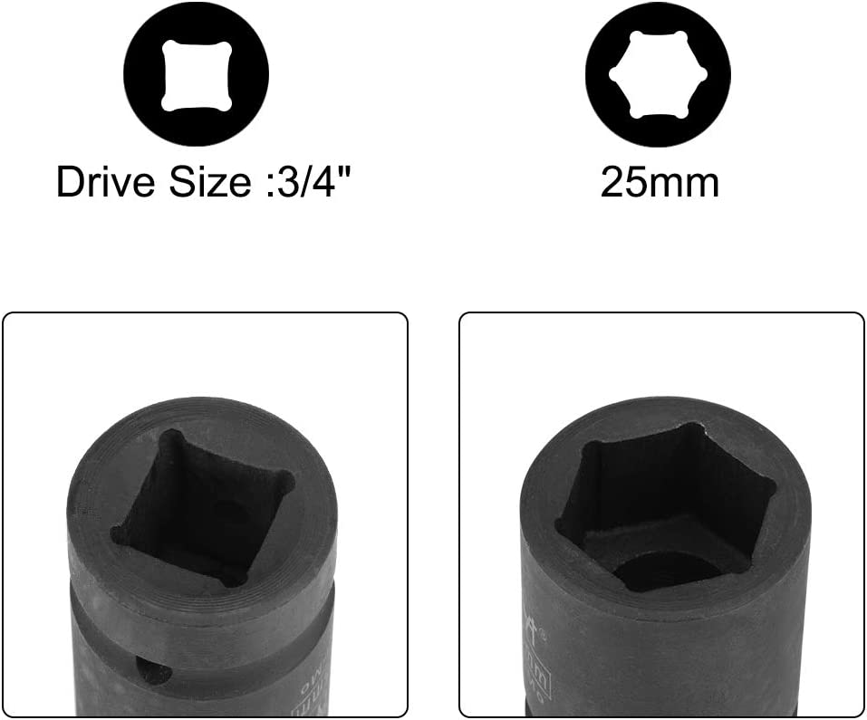 Metric uxcell 3//4-Inch Drive by 41mm Shallow Impact Socket Cr-Mo Alloy Steel 6-Point