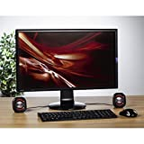 Hama PC Lautsprecher Sonic Mobil 183 (USB 3.0, 3,5 mm Klinke, 3 W, aktive Boxen für Computer, Laptop, Notebook, Smartphone, Tablet) schwarz/rot - 2