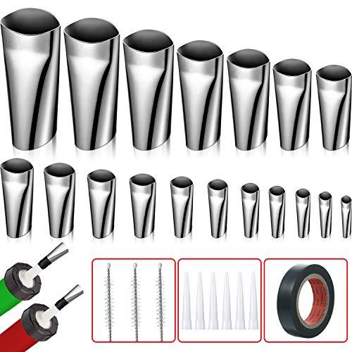 28 Pieces Caulking Finishing Tool with 18 Sizes Caulking Applicator Caulking Nozzle Stainless Steel Sealant Finishing Tool Includes Black Tape, Universal Caulking Finishers and Brushes