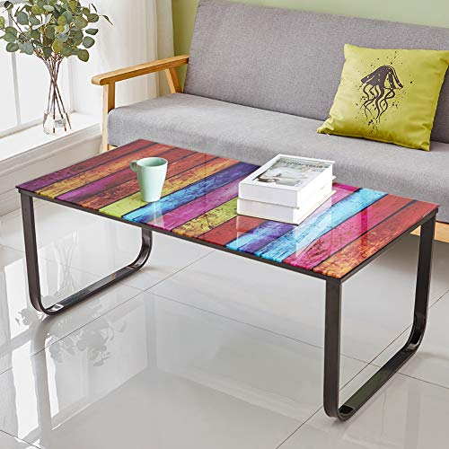 OFCASA Coffee Table with Rainbow Painting Glass Top End Side Table with Metal Frame Living Room Bedroom Tables with Storage