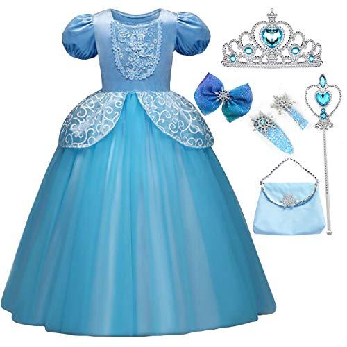 Fanessy Vestido de Disfraz de Cenicienta para nios Nias Disfraz de Carnaval de Princesa Vestido Largo de Tul Fiesta de cumpleaos de Halloween Cosplay Vestido de Fiesta Largo de Fiesta Azul