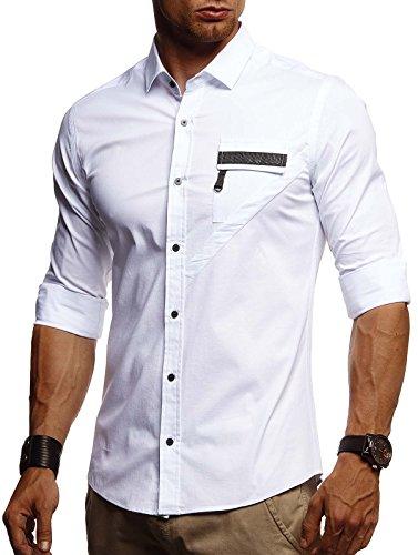 Leif Nelson LN3395 Witte herenhemd, slim fit, lange mouwen, zwart, stretch, korte mouwen, vrijetijdshemd met lange mouwen