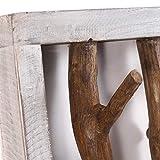 DESIGN DELIGHTS RUSTIKALE WANDGARDEROBE Limb | 45x23x~10-13 cm (BxHxT), Treibholz | Hakenleiste | Farbe: 05 weiß-Natur - 6