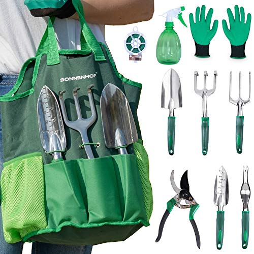 Garden Tools - Garden Tool Set Storage Tote Bag, Canvas Storage Organizer with Pocket, Outdoor Hand Tool Kit with Soft Rubberized Non-Slip Ergonomic Handle, Heavy-Duty Gardening Gifts for Kids, Women