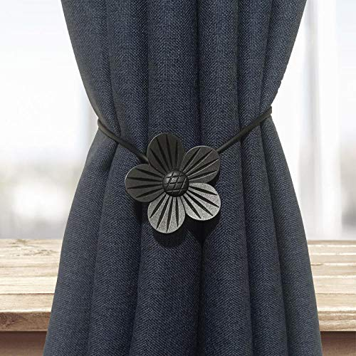 HNLHLY gordijn van metaal, Europese decoratie voor kantoor thuis, riem met gesp, creatief, 1 paar zwart.