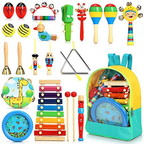 Jojoin 24 Pcs Juguetes Instrumentos Musicales, 12 Tipos de Juguetes de Instrumentos, Juguete Música...
