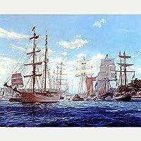 初心者のための刻印されたクロスステッチキット-帆船-11CTDIYクロスステッチ-刺繡針仕事