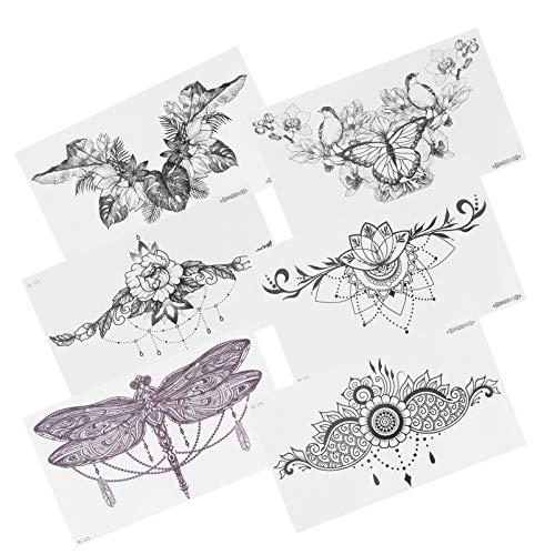PIXNOR 6 Blätter Brust Temporäre Tätowierungen Gefälschte Unterbrust Tätowierungen Aufkleber Personalisierte Blumen Körperkunst Aufkleber Weihnachtsfeier Gunst für Männer Frauen