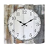 Stonebriar Square 15' Rustic Farmhouse Worn Wood Arabic Number Wall Clock, 15. 5' x 15. 5', Brown